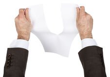 Businessman tear blank paper Royalty Free Stock Images