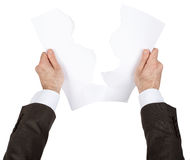 Businessman tear blank paper Stock Image