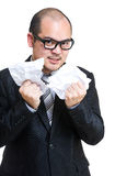 Businessman tear contract Royalty Free Stock Image