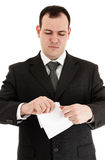 Businessman tear paper Royalty Free Stock Photography