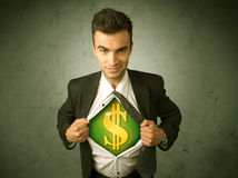 Businessman tearing off his shirt with dollar sign on chest Stock Image