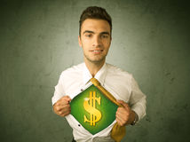 Businessman tearing off his shirt with dollar sign on chest Royalty Free Stock Photos