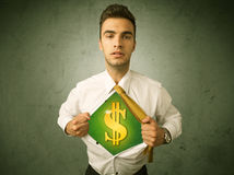 Businessman tearing off his shirt with dollar sign on chest Stock Photo
