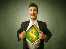 Businessman tearing off his shirt with dollar sign on chest Royalty Free Stock Image