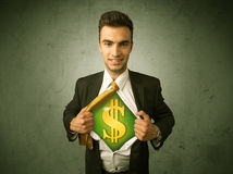 Businessman tearing off his shirt with dollar sign on chest Stock Images
