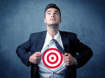 Free Businessman Tearing Shirt With Target Sign On His Chest Stock Photos - 85222333