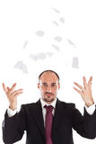 Businessman tearing and trowing paper Royalty Free Stock Photography