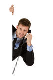 Businessman with telephone receiver. Stock Images