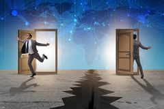 The businessman in teleportation concept with doors. Businessman in teleportation concept with doors Royalty Free Stock Images