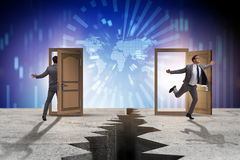 The businessman in teleportation concept with doors. Businessman in teleportation concept with doors Stock Images