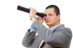 Businessman with telescope Stock Photography