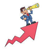 Businessman with telescope on arrow Stock Photos