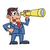 Businessman with telescope Royalty Free Stock Image