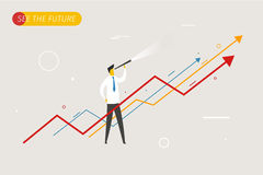 Businessman with telescope looking to the future. Growth charts. Vector illustration Eps10 file. Success, growth rates Royalty Free Stock Photos