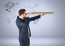 Businessman with telescope and planet and stars astronomical graphic drawings. Digital composite of Businessman with telescope and planet and stars astronomical Stock Photography