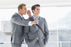 Businessman telling secret to his colleague. In the office royalty free stock images
