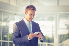 Businessman texting with his smartphone Stock Photo