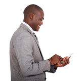 Businessman texting smart phone Royalty Free Stock Photos