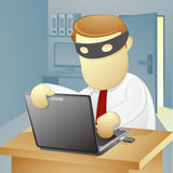 Businessman thief. Vector Illustration of a Businessman is stealing the data from the laptop Stock Images