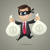Businessman thief holds bags with money Royalty Free Stock Photo
