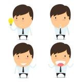 Businessman think cartoon emoticons Stock Photography