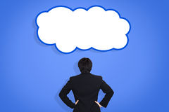 Businessman with think cloud stock photography