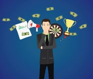 Businessman think with money graph goals as a background. Vector Stock Photos