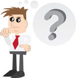 Businessman Thinking. With question mark thought bubble Stock Image