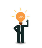 Businessman thinking big idea concept. Illustration of idea bulb Stock Photo