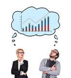 Businessman thinking about chart Stock Image