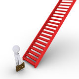 Businessman thinking about climbing staircase. 3d businessman is in front of a rising staircase Royalty Free Stock Image