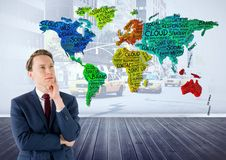 Businessman thinking with Colorful Map with city background Royalty Free Stock Photography