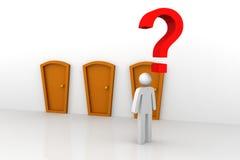Businessman thinking. 3d illustration of Same doors. Businessman thinking Royalty Free Stock Photos