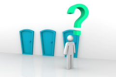 Businessman thinking. 3d illustration of Same doors. Businessman thinking Royalty Free Stock Image