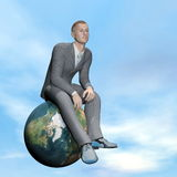 Businessman thinking - 3D render. Businessman thinking upon the earth by beautiful day Royalty Free Stock Image