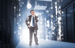 Businessman thinking in data center Royalty Free Stock Photography