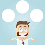 Businessman thinking empty bubbles Stock Photo