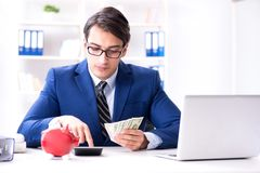 The businessman thinking about his savings during crisis. Businessman thinking about his savings during crisis Royalty Free Stock Photo