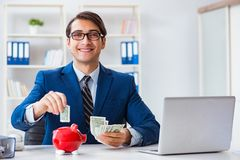 The businessman thinking about his savings during crisis. Businessman thinking about his savings during crisis Stock Photo