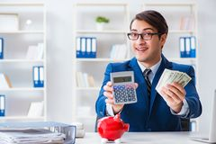 The businessman thinking about his savings during crisis. Businessman thinking about his savings during crisis Stock Images