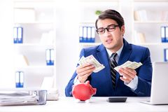 The businessman thinking about his savings during crisis. Businessman thinking about his savings during crisis Royalty Free Stock Images