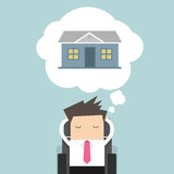 Businessman is thinking about house Stock Images