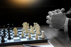 Businessman thinking how to  win. Businessman thinking how to play chess concept business strategy for win Stock Images