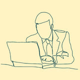 Businessman thinking linear design, continuous line, Thoughtful man with laptop outline. Royalty Free Stock Photography