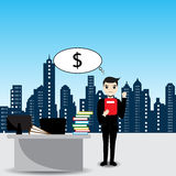 Businessman is thinking about money Royalty Free Stock Image