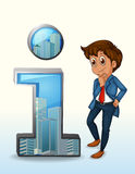 A businessman thinking beside the number one figure. Illustration of a businessman thinking beside the number one figure on a white background Stock Images