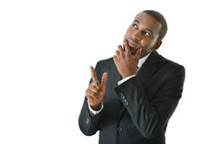 Businessman Thinking and Pointing Up Stock Photo