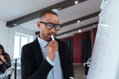 Businessman thinking about presentation Royalty Free Stock Images