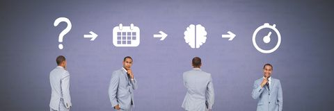 Businessman thinking in sequence with ideas and brainstorm process icons. Digital composite of Businessman thinking in sequence with ideas and brainstorm process Stock Image