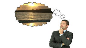 Businessman thinking about travelling Royalty Free Stock Images
